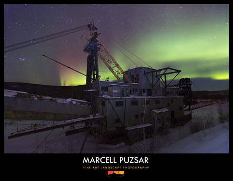 Gold Dredge with green aurora near Fairbanks